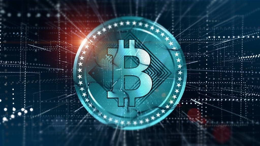 Cryptocurrency Bitcoin in blurred virtual network.