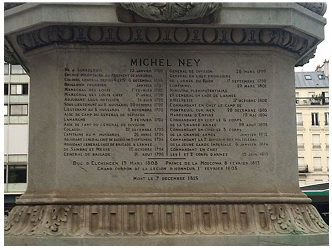 The inscription at the base of Ney's statue
