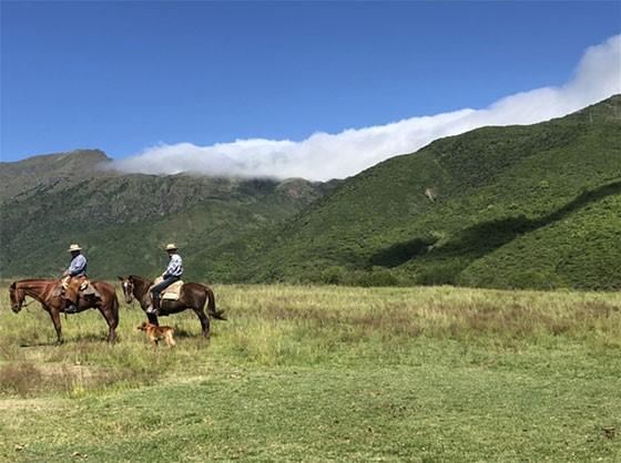 Bill and a gaucho explore Pampa Grande